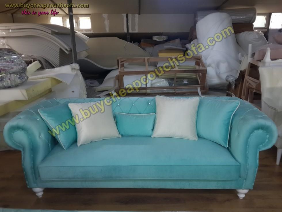 Kodu: 10289 - Turquoise Blue Velvet Chesterfield Sofa Luxury Cheap Sofas