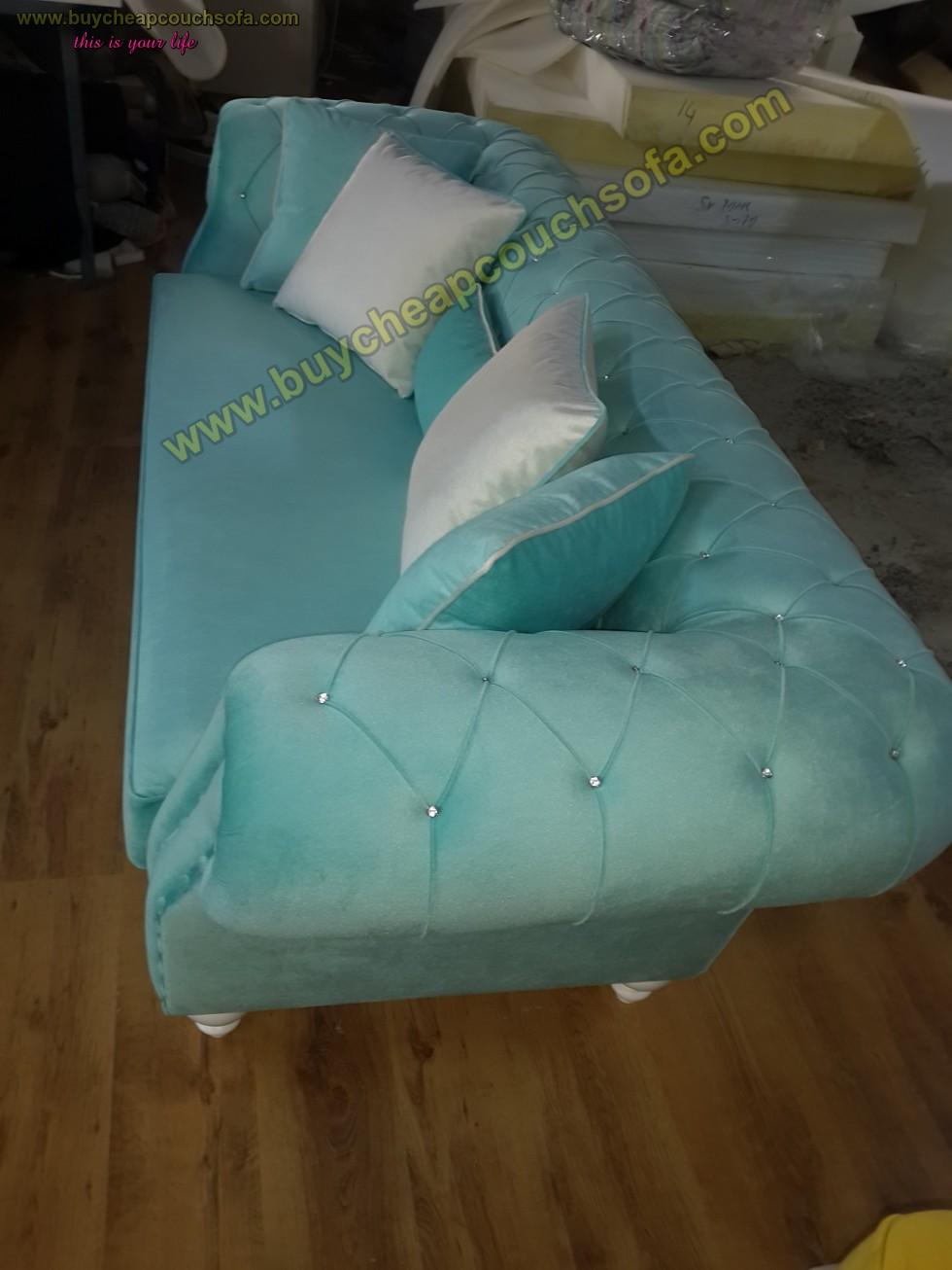 Kodu: 10290 - Turquoise Blue Velvet Chesterfield Sofa Luxury Cheap Sofas