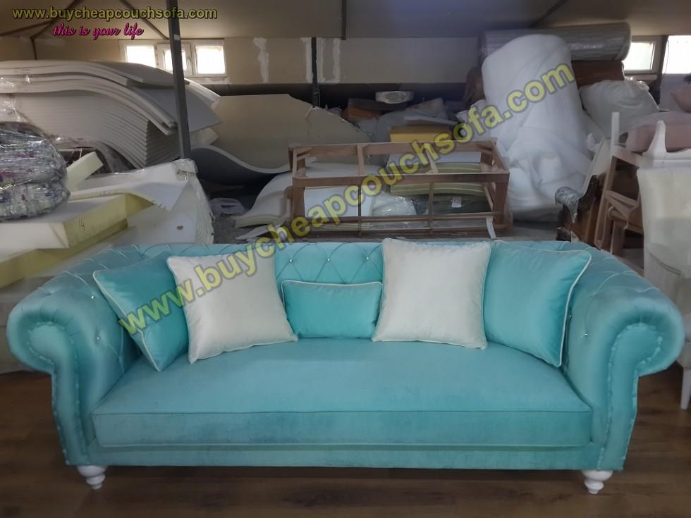 Kodu: 10291 - Turquoise Blue Velvet Chesterfield Sofa Luxury Cheap Sofas