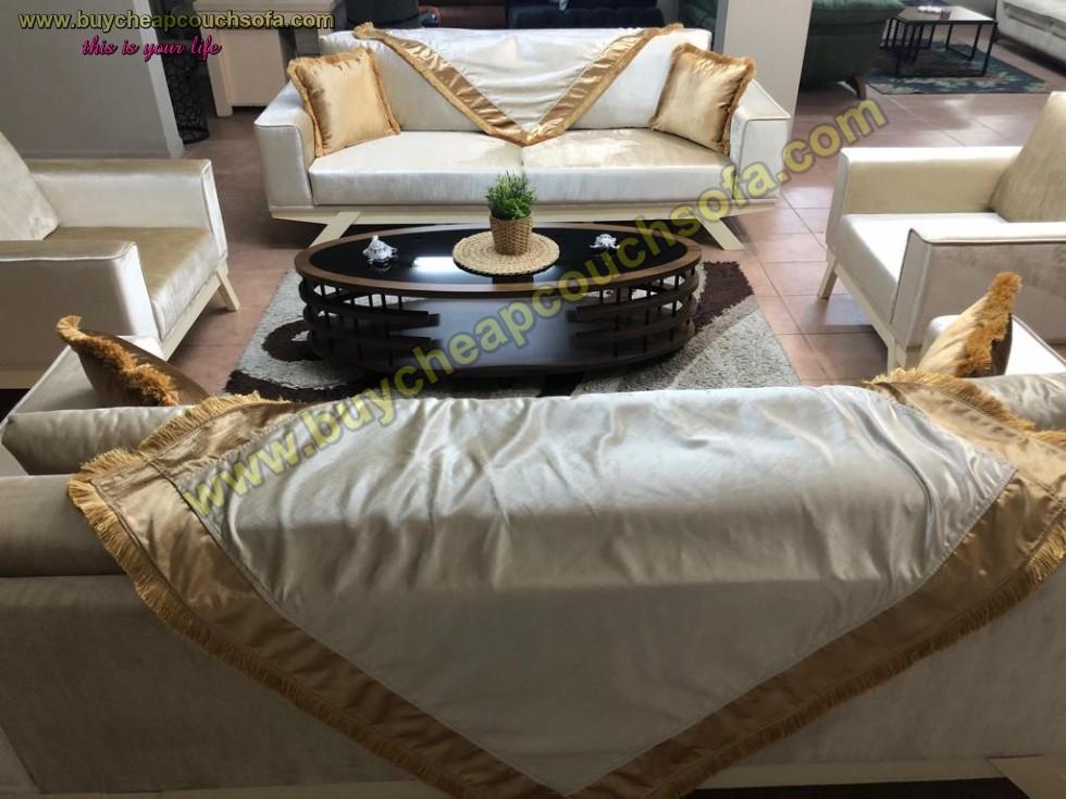Kodu: 9641 - Velvet Fabric Sofa Set With Wraps