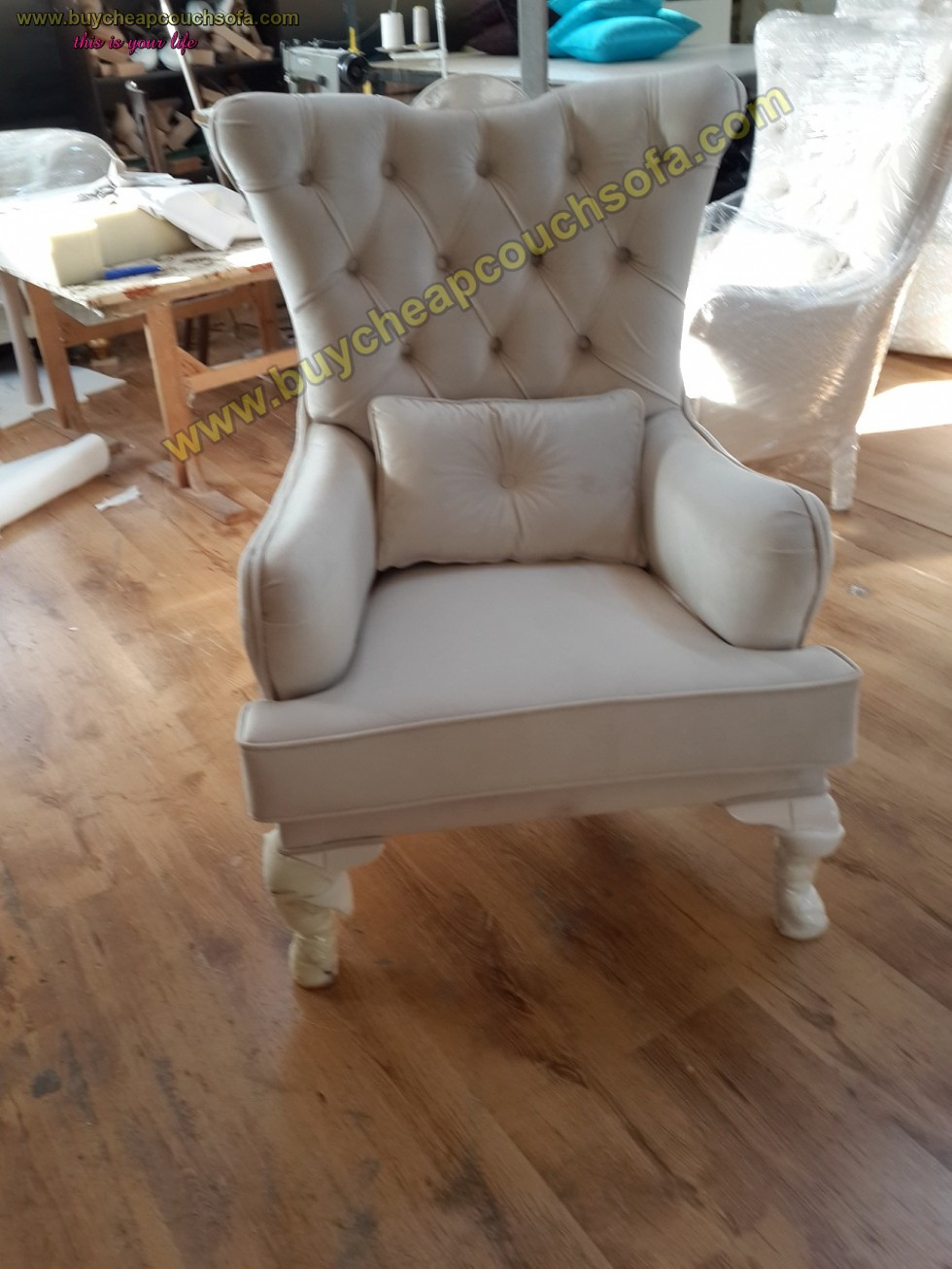Kodu: 10206 - Velvet Luxury Accent Chair Wingback Chair White Tufted