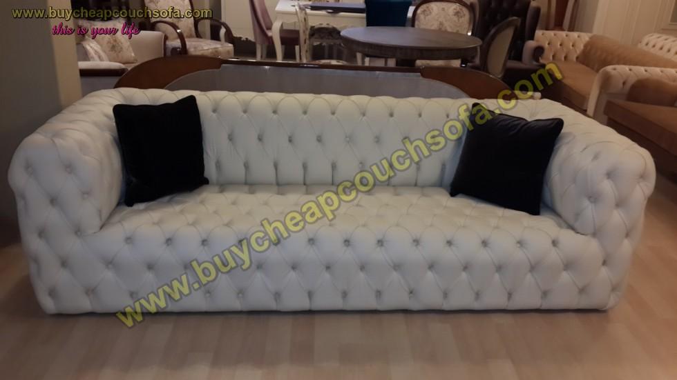 Kodu: 12390 - White Leather Modern Chesterfield Sofa Luxury Handmade Quilted Sofa