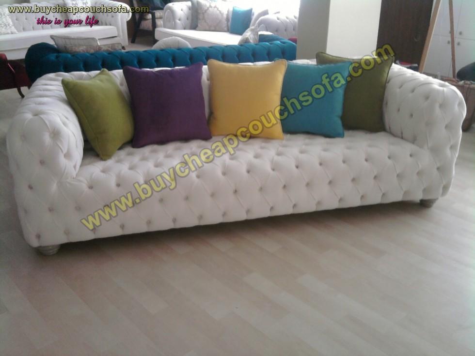 Kodu: 12391 - White Leather Modern Chesterfield Sofa Luxury Handmade Quilted Sofa