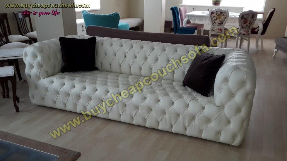 Kodu: 12389 - White Leather Modern Chesterfield Sofa Luxury Handmade