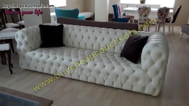 White Leather Modern Chesterfield Sofa Luxury Handmade