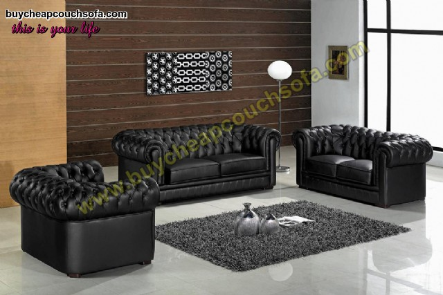 Black Gray Chesterfield Sofa Set With Rolled Arms Luxury Leather
