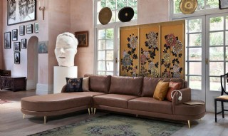 Buy Brown Leather Corner Sofa L Shaped Sectional Loveseat Sofa