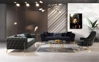 Black Grey Velvet Cheap Sofa Set Modern Luxury Living Room Sofa Set