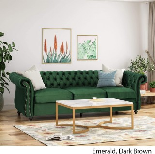 Chesterfield Tufted Jewel Toned Velvet Sofa With Scroll Arms, Emerald
