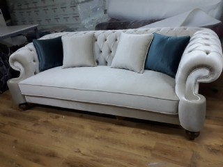 Elegance Gray Velvet Sofa 3 Seater Luxury Counch High Comfortable