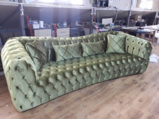 Luxury Chesterfield Sofa Green Velvet 4 Seater Curved Ultra Modern