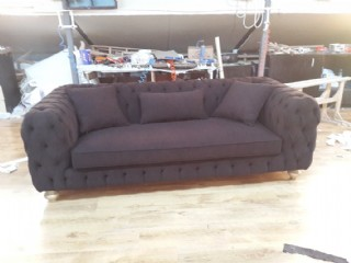 Luxury Modern Chesterfield Sofa Black Velvet Tufted Sofa Loveseat