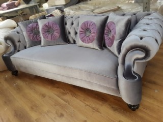 Suit Gray Velvet Luxury Chesterfield Sofa 3 Seats Couch 4 Pillow
