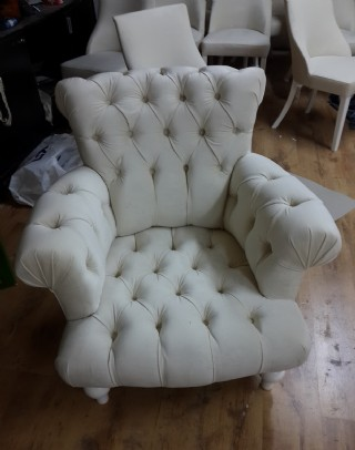 White Velvet Armchairs Chesterfield Luxury Armchairs